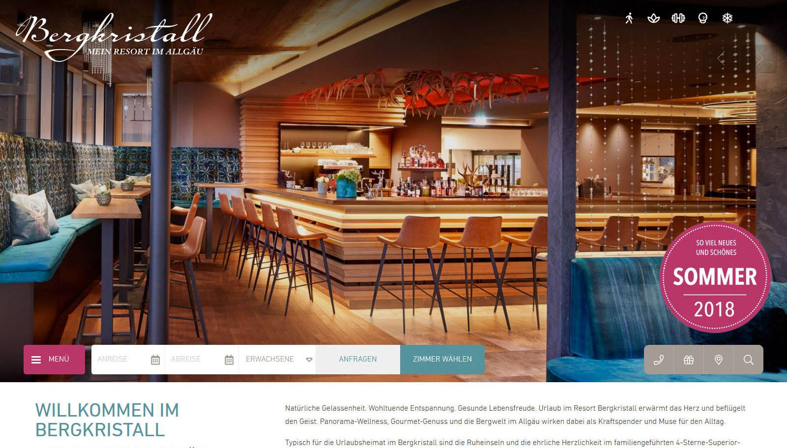 Website vom Hotel Bergkristall Screenshot