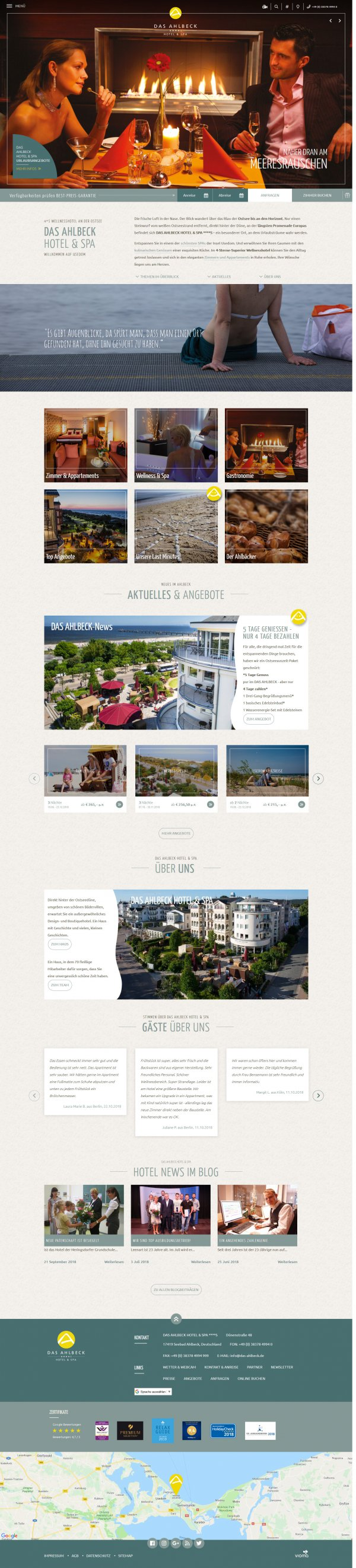 Website DAS AHLBECK HOTEL & SPA