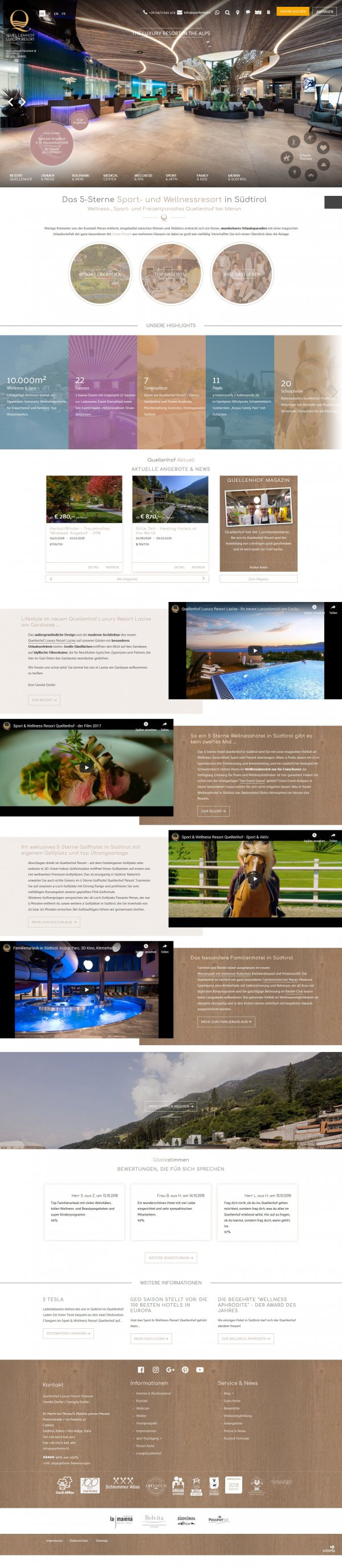 Website QUELLENHOF LUXURY RESORT