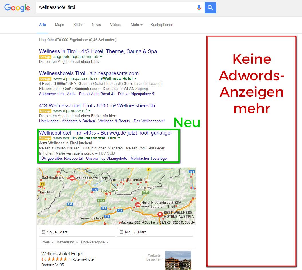 Google Adwords Spalte rechts nicht länger verfügbar