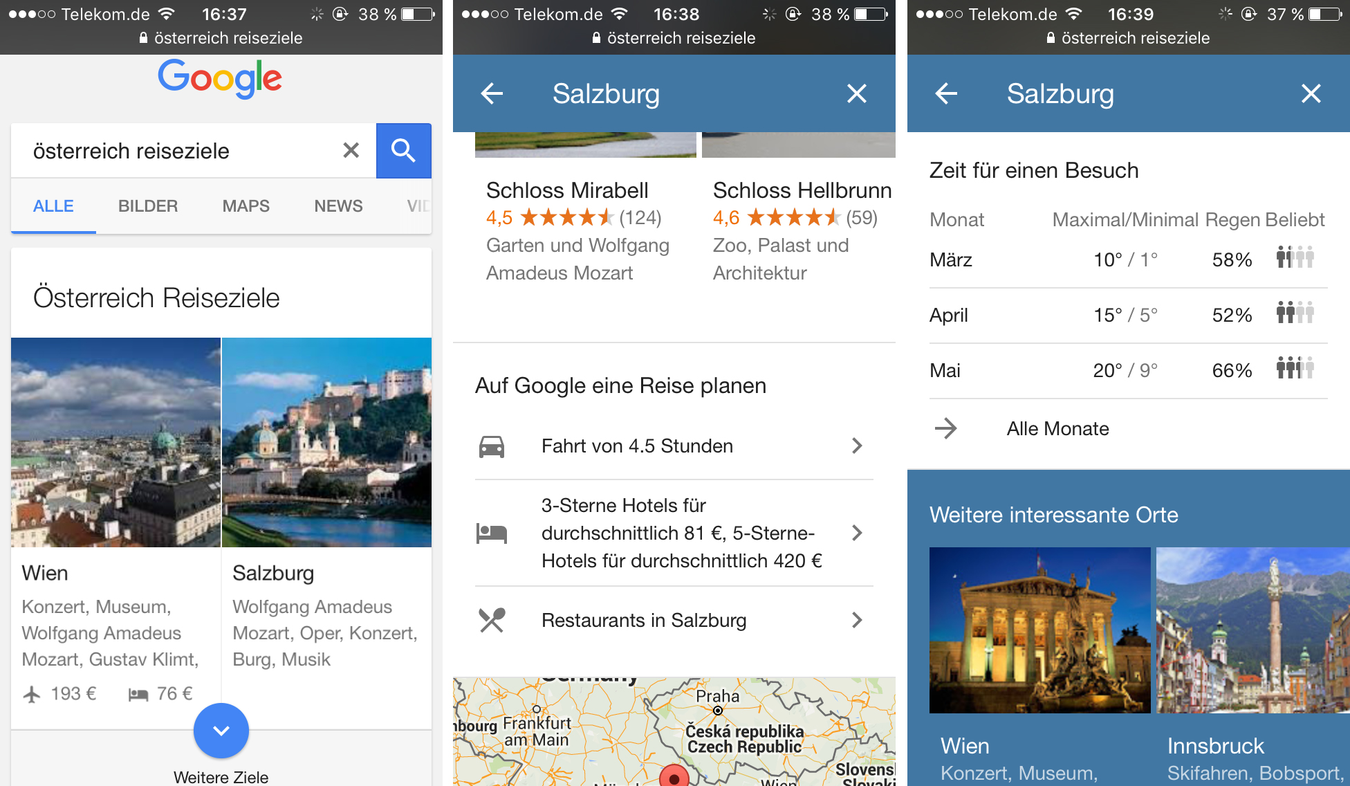 Google Destinations - mobile Reiseplanung